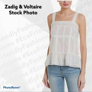 Zadig & Voltaire White Teacup Tank with Lace Trim